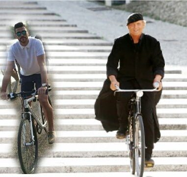 GRAZIANO IN BICICLETTA INSIEME A TERENCE HILL DON MATTEO